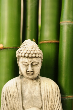 Buddha with bamboo in background in tropical setting