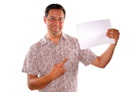 Young man pointing to blank piece of paper for advertisement  Stock Photo - 13858488