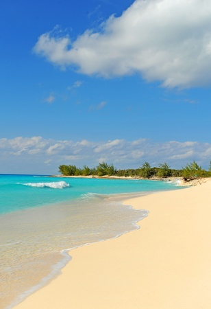 Tropical beach in the Bahamas with white sand and turquoise blue ocean water and nobody on the beach Banco de Imagens