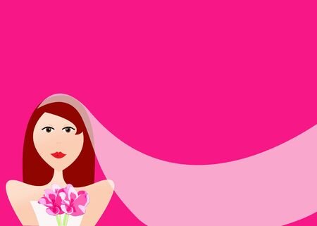 Illustration of bride with red hair and bouquet wearing long, flowing wedding veil on pink background