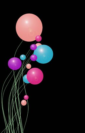 floating: Multicolored balloons floating on a black background Stock Photo