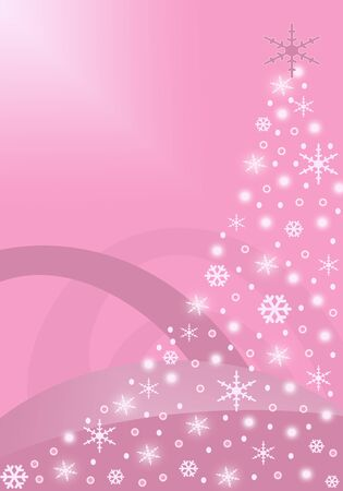 Pink Christmas tree background with glowing snowflakes
