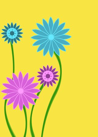 Pink and blue abstract flowers on yellow background Stock Photo