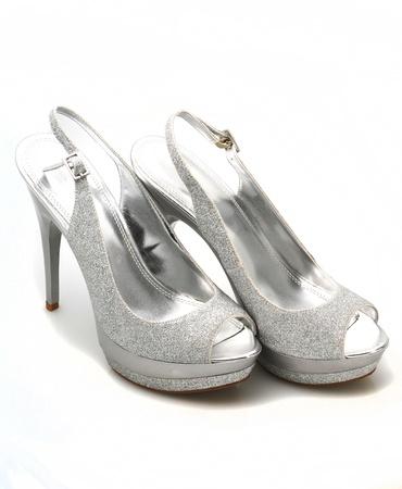 Silver glitter stiletto heels on white background