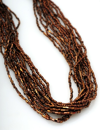 seed beads: Brown necklace made from strands of seed beads