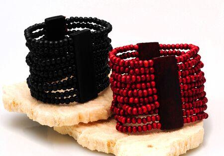 cuffs: Trendy Red and black wooden bead bracelet cuffs