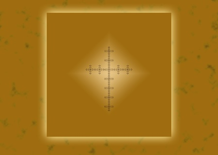 Gold glowing Christian cross on abstract background photo