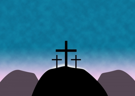 catholicism: Christian Easter background with three crosses