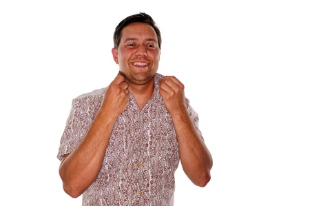 popped: Cool guy with a trendy shirt who has a popped collar Stock Photo