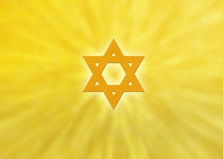 zionism: Jewish background with orange sunrays and glowing star of david Stock Photo