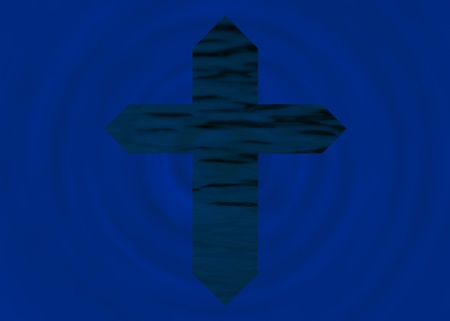 Blue textured cross on bright blue background photo