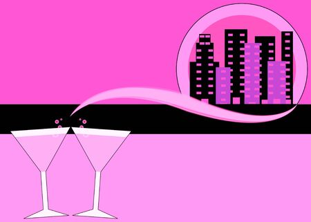 night out: Abstract girls' night out with background with Pink martinis and skyline illustration