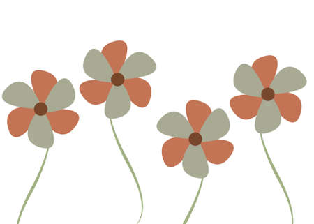 Four Blue and pink abstract flowers illustration Stock Photo