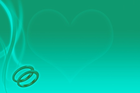 Wedding rings and heart on abstract teal background for marriage