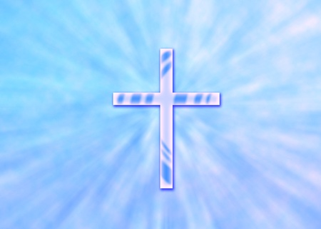 Christian background with sun rays from sky and glowing cross photo