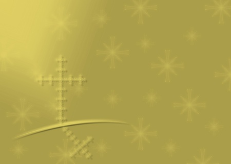 Gold Religious Christmas background with snowflakes and cross photo