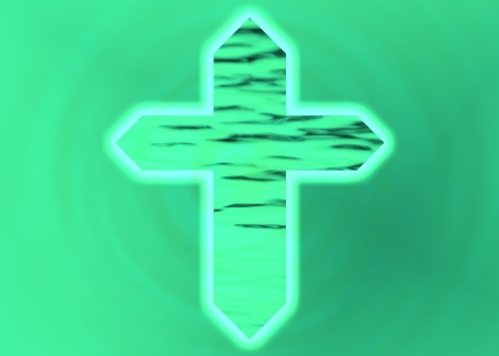 Green Christian cross on green textured background photo