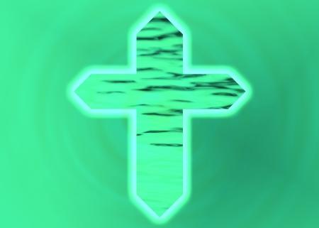 jesus cross: Green Christian cross on green textured background