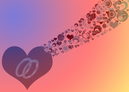 Abstract marriage design with ornate hearts, circles and wedding rings photo
