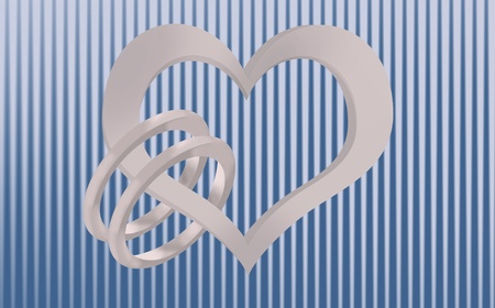 A metallic heart holding two wedding rings on a blue and silver striped background Imagens