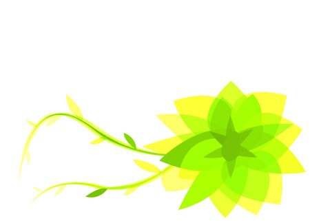 hues: A green and yellow abstract flower with different hues for a background