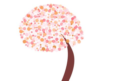 Abstract tree with pink and orange circles with retro feel Stok Fotoğraf