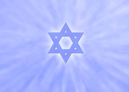 Jewish background with sunrays and glowing star of david photo