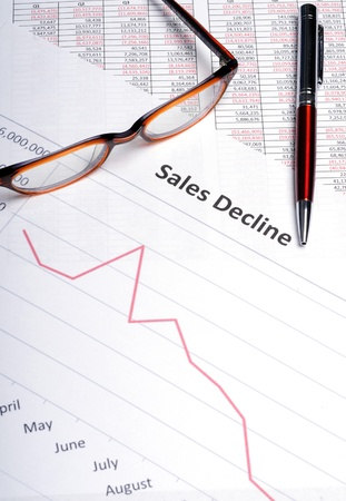Business analysis showing line graph with sales decline results photo