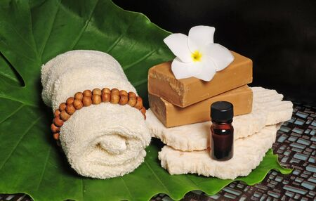 natural soap: Natural soap with a towel for a relaxing spa bath