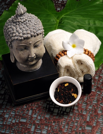 An arrangement of items used at a day spa for aromatherapy in an Asian spa photo