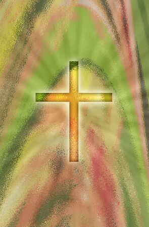A glowing cross on an abstract background with spring colors