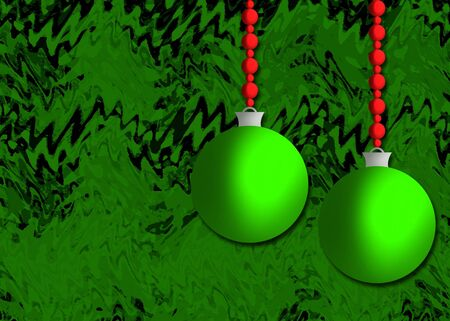 A green and red Christmas background illustration with holiday ornaments and red beads