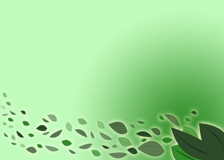 A green summer illustration with blowing leaves Imagens