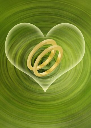 Abstract green wedding illustration with two gold rings and a glowing heart