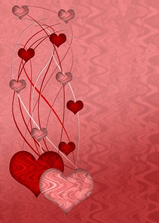 Pink and red illustration with hearts and abstract shapes illustration