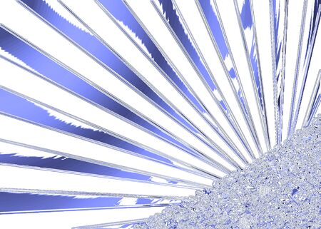 metallic  sun: Blue and white background with metallic abstract image and sun rays  Stock Photo