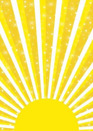 Bright yellow sun with sunrays and multiple glowing stars Imagens