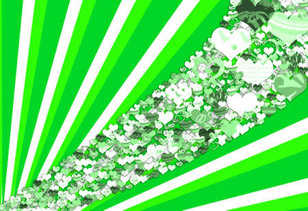 Green illustration with hearts, sun rays and abstract shapes illustration