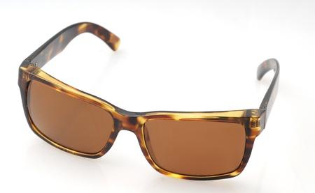 Brown tortoiseshell sunglasses isolated on white Stock Photo