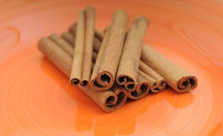 Cinnamon sticks on orange background Stock Photo - 17709243