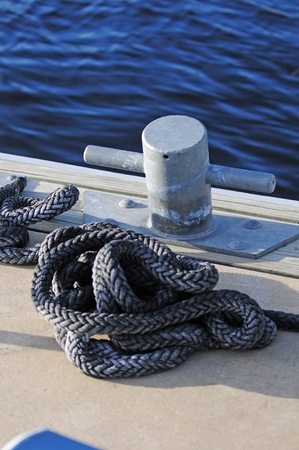 cleat: dock with cleat and rope for boating Stock Photo
