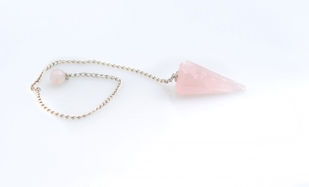 new age: new age crystal pendulum accessory that is a pink rose quartz stone