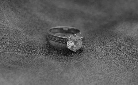 black and white diamond engagement ring Stock Photo