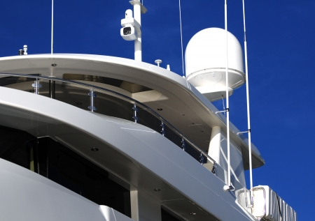 night vision: Close up of radar and night vision camera on yacht Stock Photo