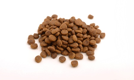 Dry cat or dog food in kibble form on white background Stock Photo - 17818217