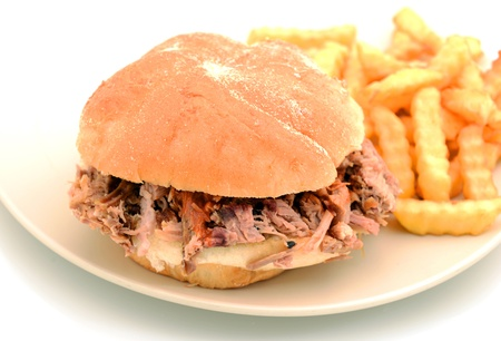 barbecue pulled pork sandwich and french fries photo
