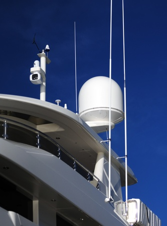 night vision: radar and night vision camera on yacht Stock Photo