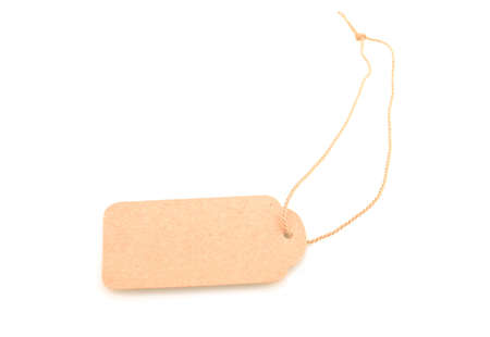 Blank natural-colored gift tag tied with string to write own message