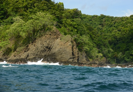 rocky shoreline in panama with tropical plants and trees photo