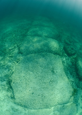 rock formation: Underwater rock formation in the Bahamas named Bimini Road